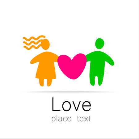 half: Love couple - a sign of the lovers. The idea for the . Marriage st. Valentines day icon.