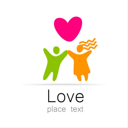 st  valentine's: Love couple - a sign of the lovers. The idea for the . Marriage st. Valentines day icon.