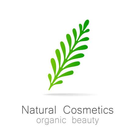 health care logo: Natural Cosmetics - Organic beauty. Template  for cosmetics, spa, beauty salon. Illustration