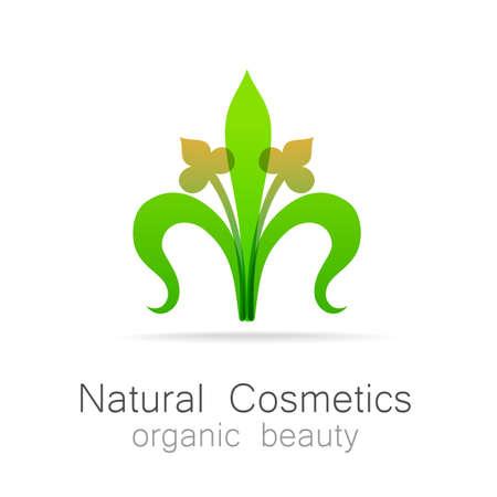natural cosmetics: Natural Cosmetics - Organic beauty. Template  for cosmetics, spa, beauty salon. Illustration