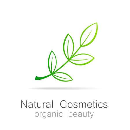 schönheit: Naturkosmetik - Organic Beauty. Vorlage für Kosmetik, Wellness, Beauty-Salon. Illustration