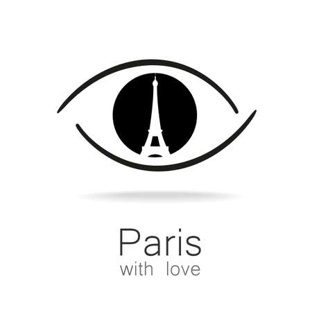 visit: Paris with love - an idea for a design template sign. Silhouette of Eiffel Tower in the reflection eyes.