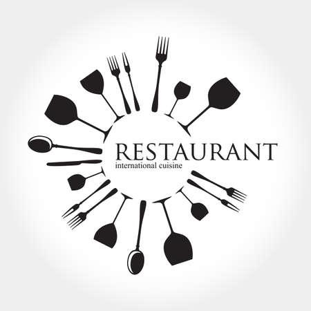 restaurant dining: Restaurant logo - idea for the sign logo label element