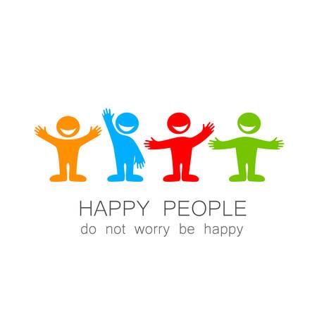 Gelukkige mensen - template merk. Het idee van sociale logo.