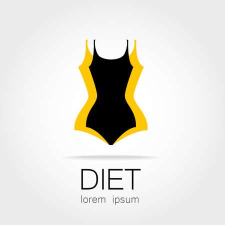 cuerpo femenino: Pérdida De Peso. Señal Plantilla para la pérdida de la dieta, la belleza y el peso, la salud y el deporte del club de las mujeres.