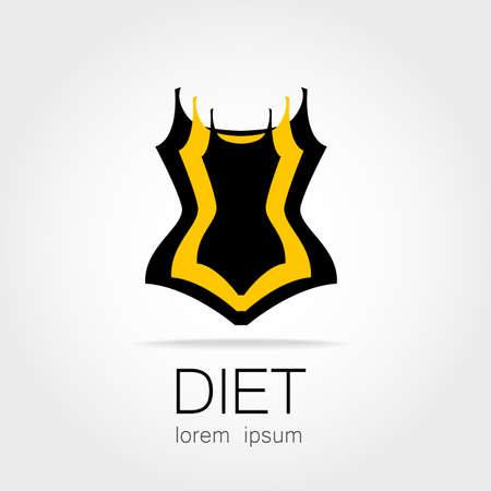salud y deporte: Pérdida De Peso. Señal Plantilla para la pérdida de la dieta, la belleza y el peso, la salud y el deporte del club de las mujeres.