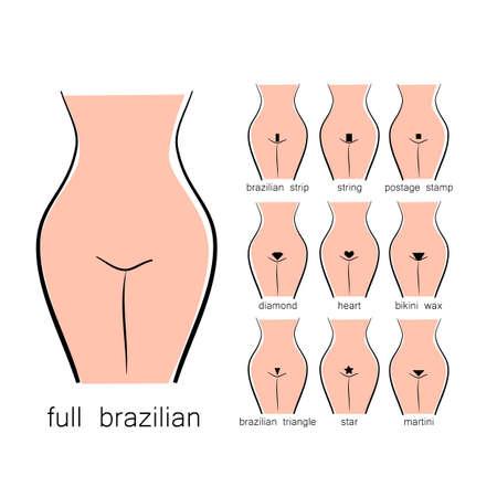 Bikini design - vrouwelijke soorten wax