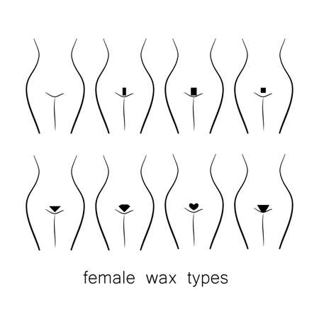 naked female body: Bikini design - female wax types Illustration