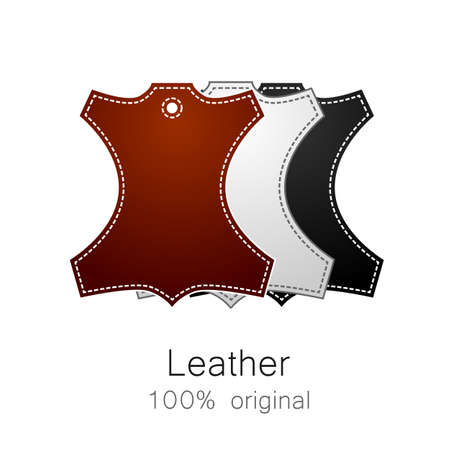 black leather: Leather - 100% original. Template sign for the label, logo, advertising, products made of leather.