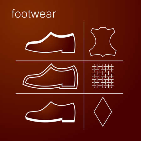 lining fabric: footwear label - shoes properties symbols Illustration