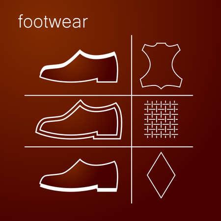 leather label: footwear label - shoes properties symbols Illustration