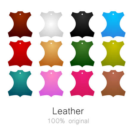genuine leather: Leather - 100% original. Template sign for the label, logo, advertising, products made of leather.