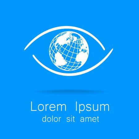 Teken van het oog met bol binnen. Sjabloon logo voor het bedrijf, vereniging, stichting, vereniging. Stock Illustratie