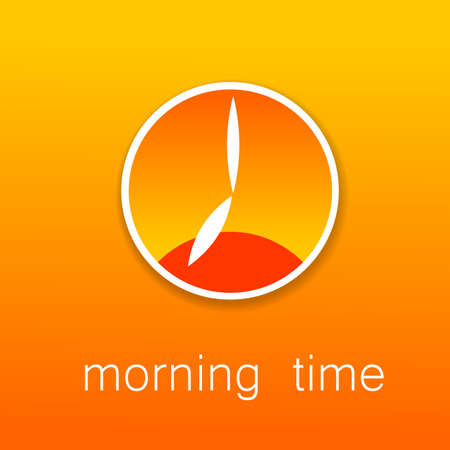 morning noon and night: Time - a symbol clock. The clock shows the time and position of the sun: and the dawn of the morning, afternoon, evening and sunset. Simple template for design.