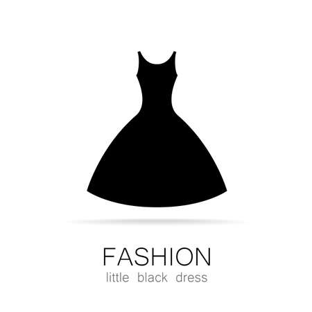 evening gown: Black dress - classic fashion. Template logo for a clothing store, womens boutique brand womens dresses.