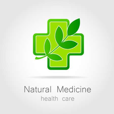 medicina natural: Medicina natural - un signo de tratamiento bio eco. Plantilla para la medicina alternativa logotipo, medicamentos eco, bio suplementos, homeopatía, etc.