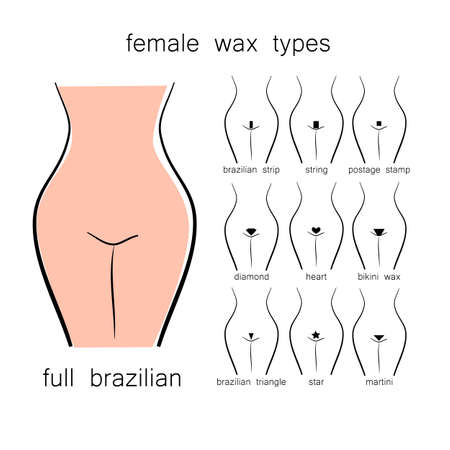Bikini design - female wax types Vettoriali