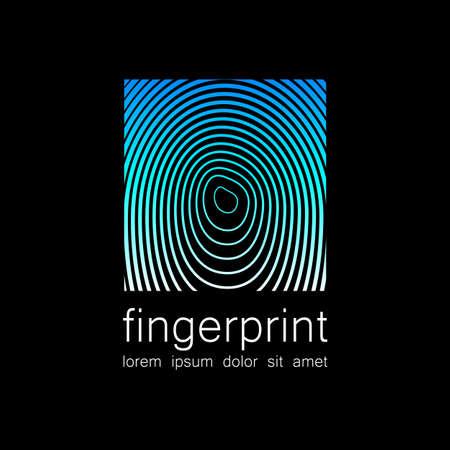 odcisk kciuka: Odcisków palców - szablon na logo. Symbol linii papilarnych - znak identyfikacyjny, zachowania i ochrony.