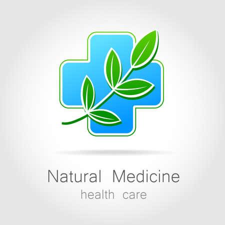 Natural medicine - a sign of eco bio treatment. Template for logotype alternative medicine, eco medicines, bio supplements, homeopathy, etc. Иллюстрация