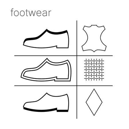 footwear label - shoes properties symbols Vectores
