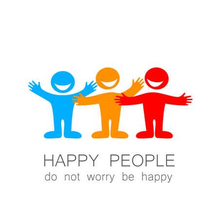 alegria: La gente feliz - Marca plantilla. La idea del logo social.