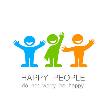 gens heureux: Happy people - template mark. The idea of social logo.