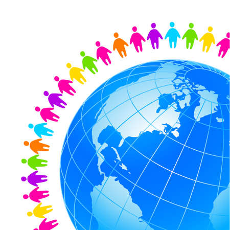 associations: People around the earth. Template concept for global organizations, companies, foundations, associations, unions. Illustration