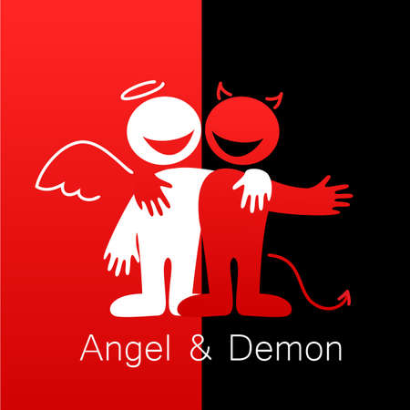 angel and devil: Angels and Demons - symbols of good and evil.