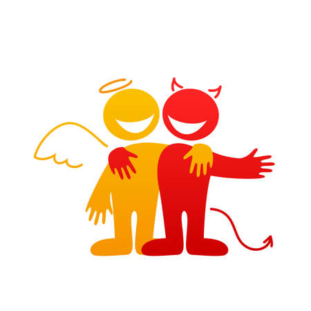 good and evil: Angels and Demons - symbols of good and evil.