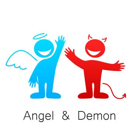 天使と悪魔 - 善と悪のシンボル。  イラスト・ベクター素材