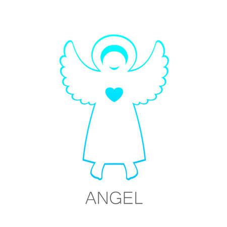 care symbol: Angel - symbol of love, hope, care, Christmas. Illustration