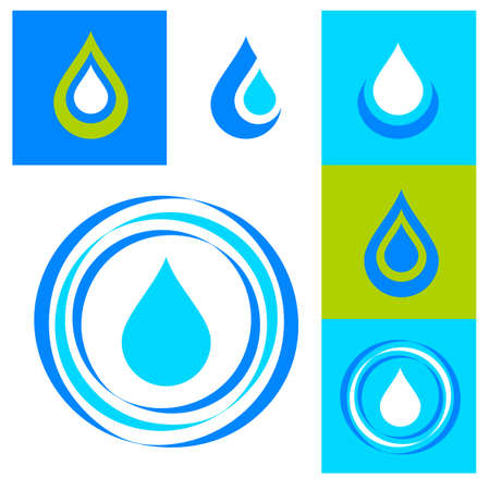 blue circle: Collection signs - water. Templates for logos, icons, symbols.