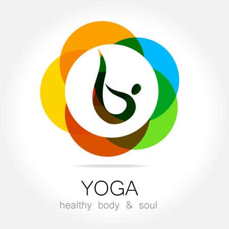health icon: Yoga - template logo. Sign of yoga asana.