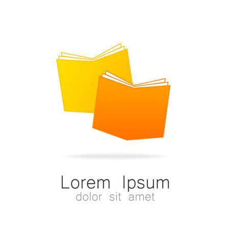 biblioteca: El libro - un símbolo del conocimiento. Logotipo para instituciones educativas, bibliotecas, escuelas, colegios, universidades, librerías. Vectores