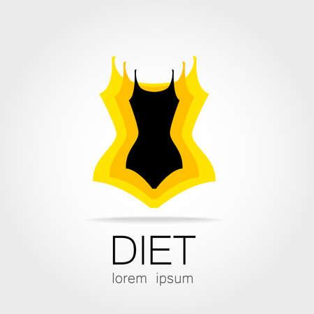 maillot de bain: la perte de poids. Signe modèle pour l'alimentation, la beauté et la perte de poids, la santé et club de sport de femmes.