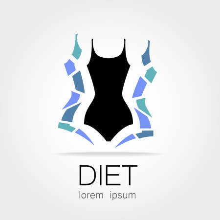weight loss: Weight Loss. Template sign for the diet, beauty and weight loss, womens health and sports club. Illustration