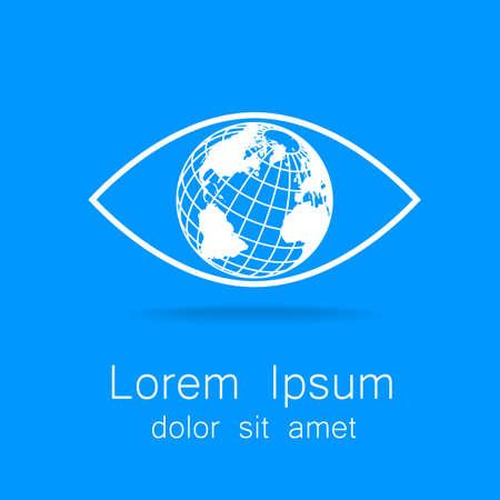 globe logo: Sign of eye with globe inside. Template logo for the company, association, foundation, association.