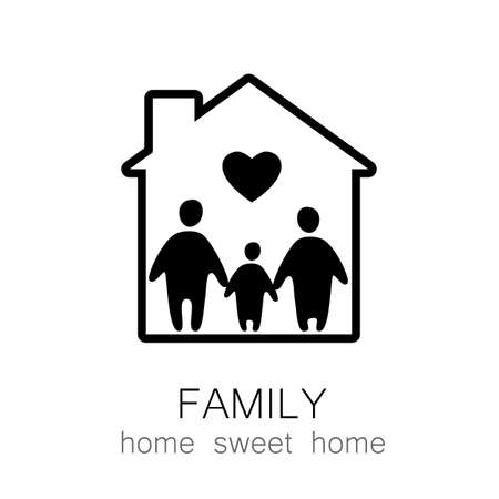 family house: Family and home concept. Silhouette family icon and house. Illustration