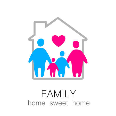 rent: Family and home concept. Silhouette family icon and house. Illustration