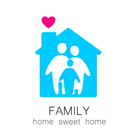 Family and home concept. Silhouette family icon and house. Illustration