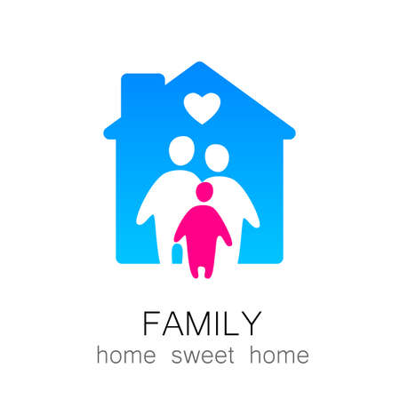 Family and home concept. Silhouette family icon and house. Vettoriali