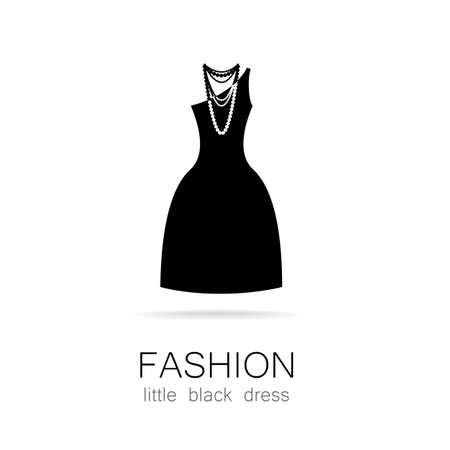 tienda de ropa: Negro vestido - moda clásica. Logo Plantilla para una tienda de ropa, vestidos de marca boutique de la mujer de las mujeres.