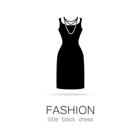 white dress: Black dress - classic fashion. Template logo for a clothing store, womens boutique brand womens dresses.