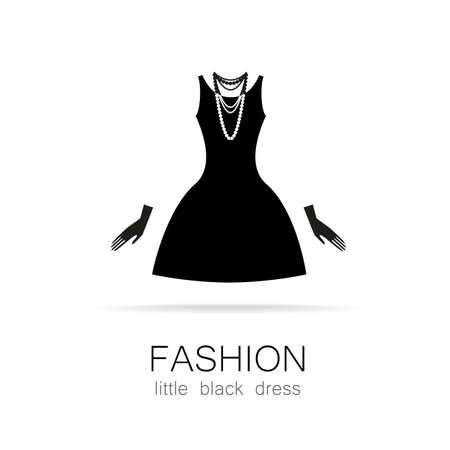 黒のドレス - 古典的なファッション。女性のブティック ブランド婦人服洋品店の型板のロゴ。  イラスト・ベクター素材