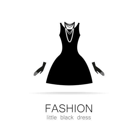 black and white image drawing: Black dress - classic fashion. Template logo for a clothing store, womens boutique brand womens dresses.