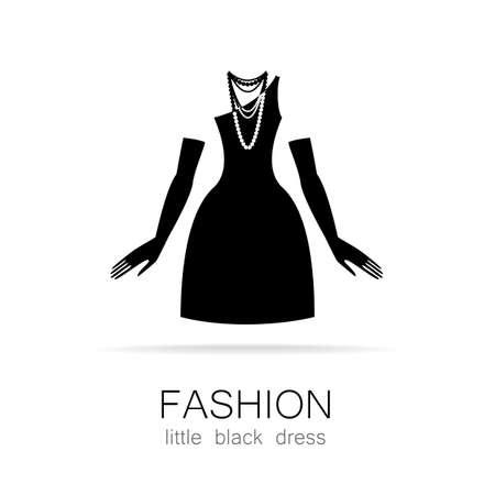 magasin vetement: Robe noire - mode classique. Logo Mod�le pour un magasin de v�tements, robes de charme marque les femmes des femmes. Illustration
