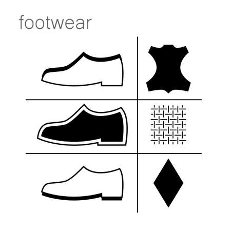 footwear label - shoes properties symbols Illustration