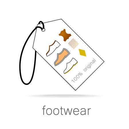 footwear: footwear label - shoes properties symbols Illustration
