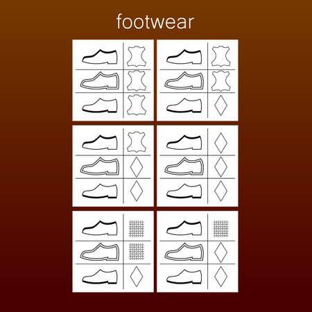 footwear label - shoes properties symbols Illustration