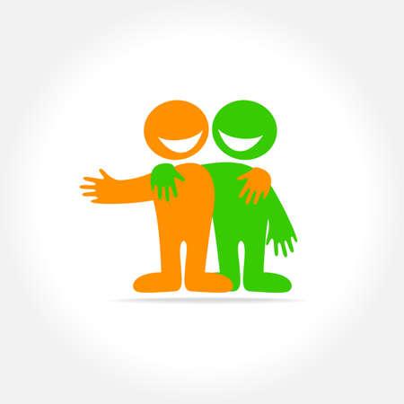 友達・友情関係、パートナーシップのサイン。社会のロゴのためのアイデア。